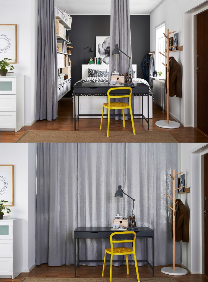 What you lack in space, you'll make up for in style and smarts! Convert a small alcove into a bedroom and use floor-to-ceiling curtains on a track to divide and conceal the space.