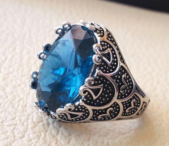 Deep blue cubic zircon men ring sterling silver 925 sky sea