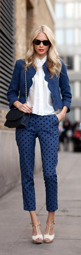 Polka dot pants: black dots on blue: London Fashion Week 2014 Street Style.