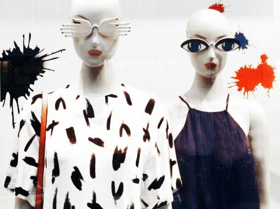 """Mango,close-up mannequins, """"paintball"""", pinned by Ton van der Veer"""