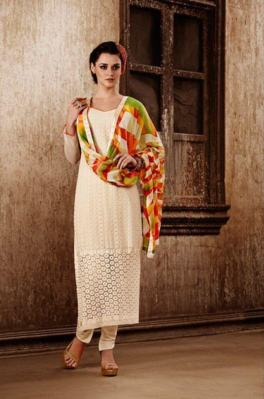 USD 28.98 Cream Georgette Churidar Suit 47590