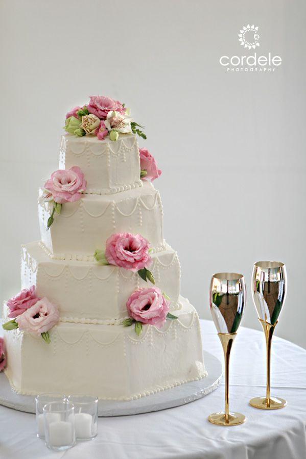 Hexagon Shaped Cake #pink roses #wedding cake