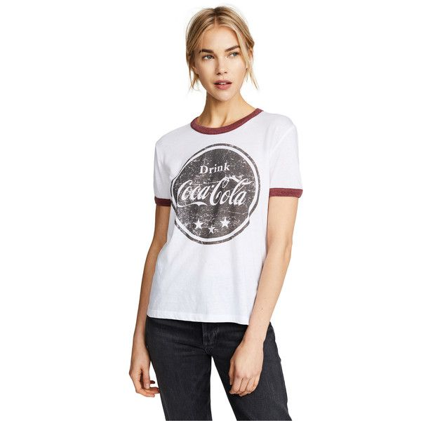 Chaser Drink Cola Tee ($63) ❤ liked on Polyvore featuring tops, t-shirts, white, short sleeve crew neck t shirt, graphic tees, short sleeve graphic tees, graphic design t shirts and crew t shirt
