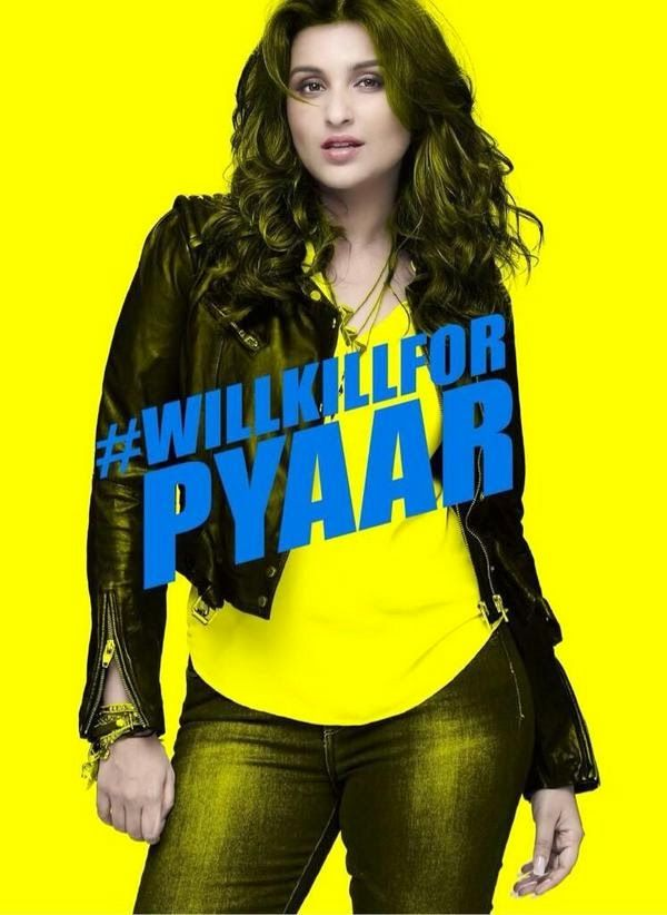 Kill Dil Hindi Movie Poster Featuring Bollywood Actress Parineeti Chopra. Parineeti is looking So Hot and Seductive in the Poster. She is wearing a Jacket, tshirt and Jean