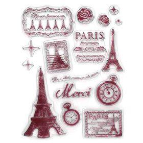 """Sellos de silicona """" Vintage París """".  Se utilizan igual que los sellos de caucho, se necesita la base para sellos.  1. Se coloca el sellos sobre la base acrílica para sellos.  2. Se presiona el sello sobre una almohadilla de tinta.  3. Se estampa la imagen en el lugar que más te guste.  4. Se limpia el sello con agua y se deja secar."""