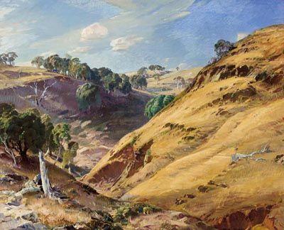 HANS HEYSEN (1877-1968) The Hillside, Glen Osmond 1936 oil on canvas 81.5 x 99.0 cm signed and dated lower right: Hans Heysen 1936 signed, dated and inscribed verso: 'HILLSIDE' Glen Osmond/ HANS HEYSEN/ HAHNDORF/ South Australia