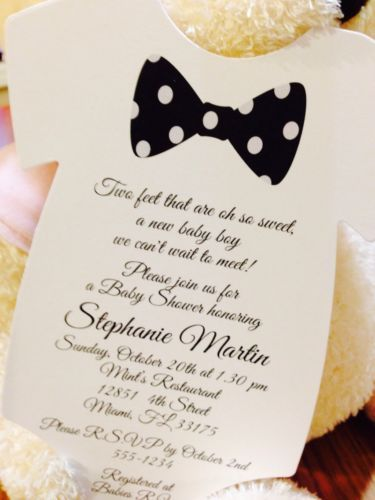 Baby Boy Black Bow Tie Onesie Baby Shower Invitation All wording Customized $1.10