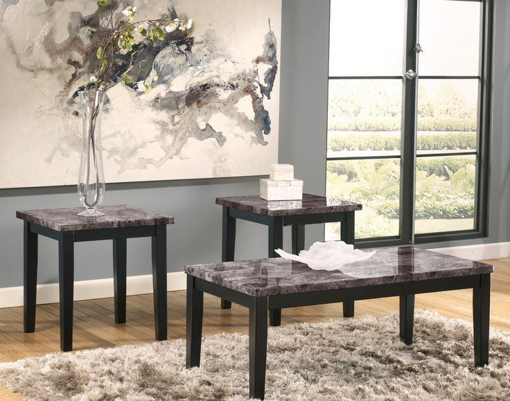 Gray Faux Marble Black Coffee Table Set 3 Piece