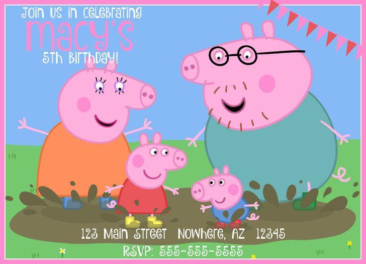 Peppa Pig Birthday Invitation by RaisedToLife on Etsy $5.50