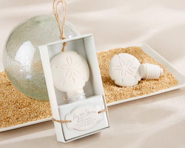 By the Shore Ceramic Sand Dollar Bottle Stopper - bouchon stopper coquillage