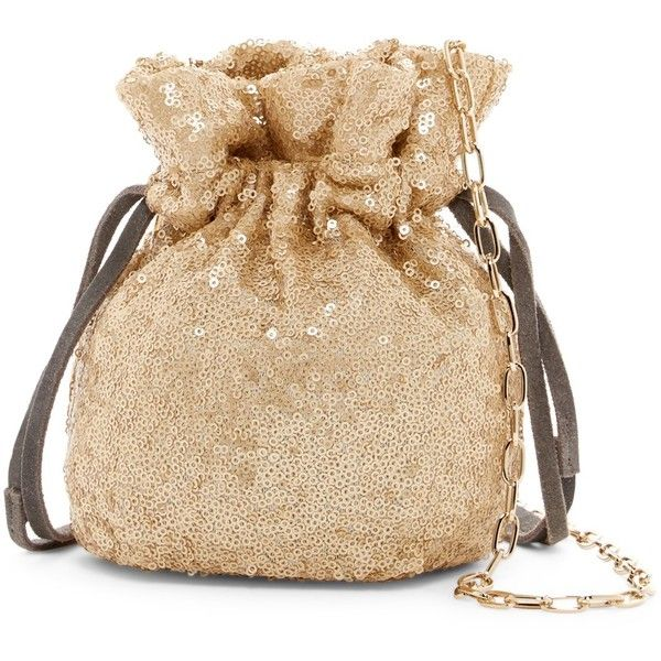 French Connection Fallon Sequined Drawstring Bag ($40) ❤ liked on Polyvore featuring bags, handbags, gold, chain handle handbags, sequin handbags, french connection, french connection purse and gold bag