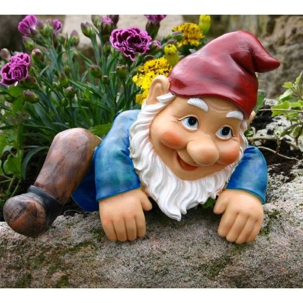 Gnome In Garden: A #Garden #Gnome #Statue Climbing Over A Tree ڿڰۣ