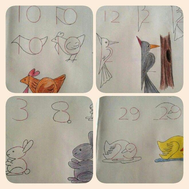 Dessiner des animaux partir de chiffres 1er tableau pinterest animaux - Comment dessiner des animaux ...