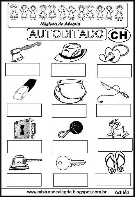 autoditado-letra-CH-alfabetizacao-imprimir-colorir.JPG (464×677)
