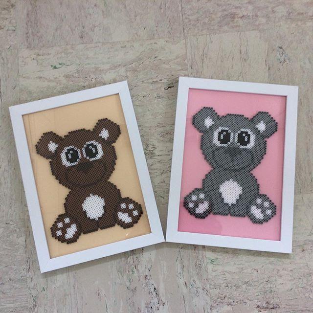 Teddybear. Teddybjörnar. Pärlmönster finns på bloggen Krea by Anja Takacs. #pärlor #pärlplatta #artkalbeads #teddybjörn #teddybear #anjatakacs
