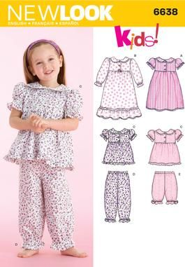 Toddler Nightgown and Pajamas Sewing Pattern 6638 New Look