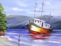 Pintura em tela - Marina espatulada - Daniel Mariano