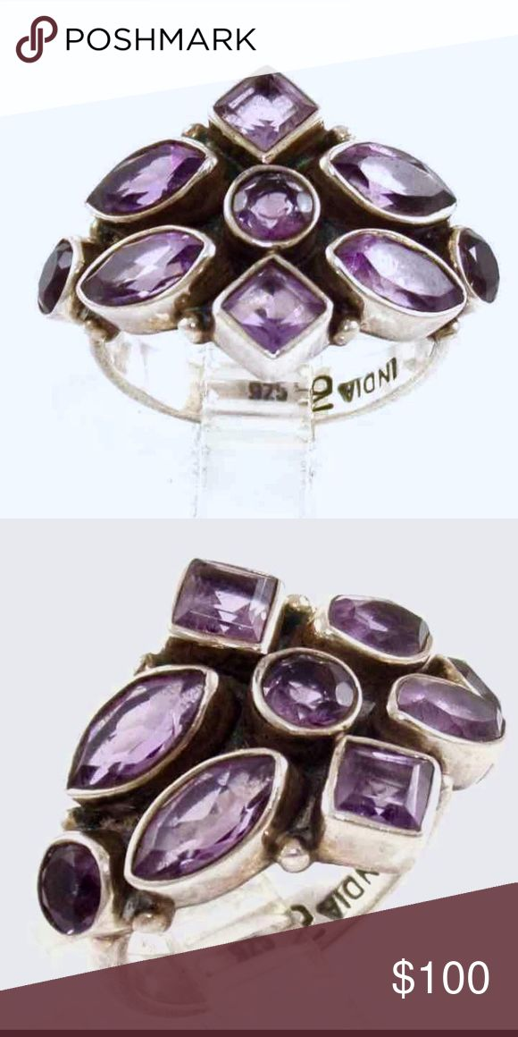 """Nicky Butler Amethyst Sterling Silver Ring Nicky Butler Sterling Silver Purple Amethyst Multi-Stone Ring, Size 7. Hallmarked NB for jewelry designer Nicky Butler and stamped """".925""""and """"India"""". Vintage Jewelry Rings"""