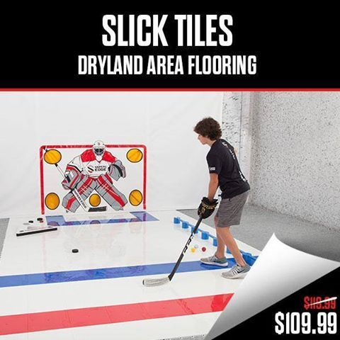 SLICK TILES HOCKEY FLOOR TILES - DRYLAND TILES Each Tile = 1 ft X 1 ft  :  20 Tiles/Box  :  20 square feet per box  IMPROVE YOUR SKILLS with CCM Sniper's Edge Slick Tiles Dryland Flooring Tiles by shooting, stick handling and passing in your very own home hockey training area.  Perfect for hockey players who want to take their game to the next level, Slick Tiles Hockey Floor Tiles allow you to have a dryland training area almost anywhere.    #hockey #ccm #snipersedgehockey