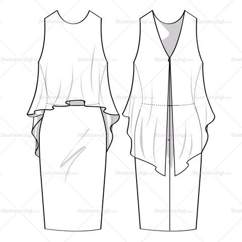 Technical Drawing Clothes on asymmetrical skirt