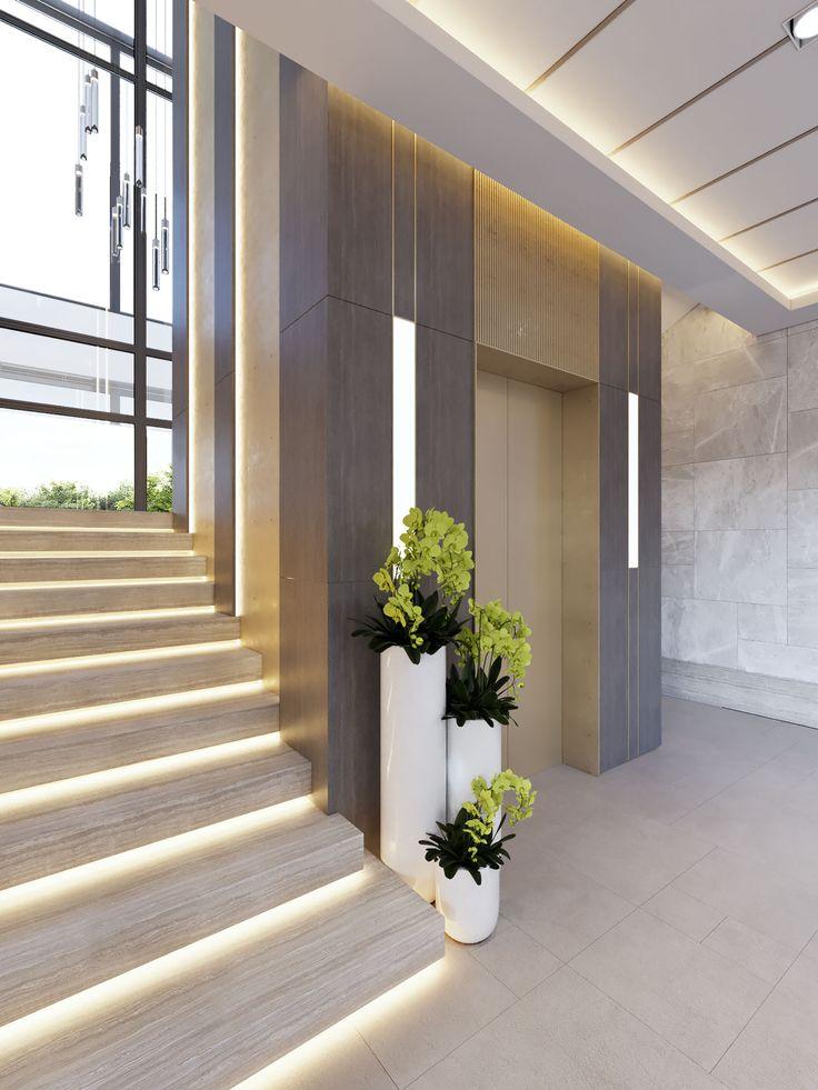 Opaal Interiors Manara Villa In 2019 Elevator Lobby Design Staircase Interior Design Lobby