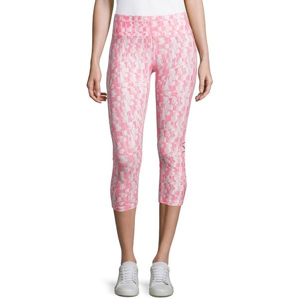 Calvin Klein Performance Women's Calypso Printed Cropped Leggings ($49) ❤ liked on Polyvore featuring pants, leggings, blue, mesh-panel leggings, stretch waist pants, pink leggings, pull on pants and calvin klein performance