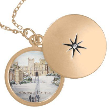 Winter at Windsor Castle Landscape Painting Gold Plated Necklace - classic gifts gift ideas diy custom unique