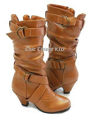 Brown leather biker boot
