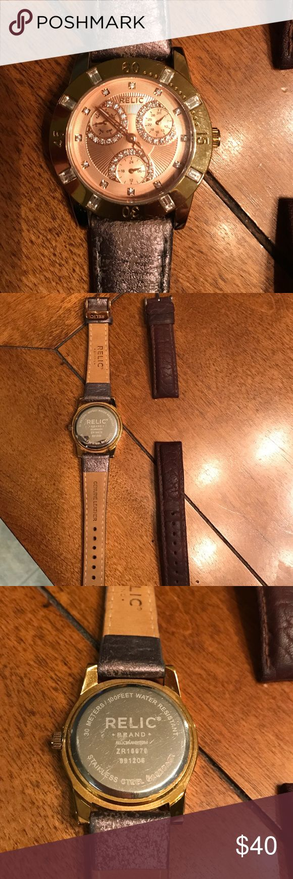 Relic watch Rose gold Relic watch with metallic leather bronze/gray band. The face is gently used and the original band (the one shown on watch) is brand new and was switched to the brown band when purchased. The used brown band is included 🤗 the watch band is 18mm. Battery is working Relic Accessories Watches