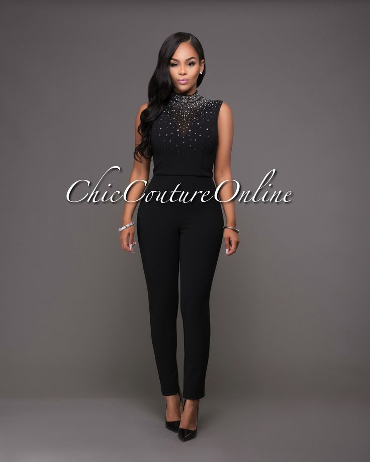 Chic Couture Online - Charnelle Black Rhinestones Embellished Jumpsuit.(http://www.chiccoutureonline.com/charnelle-black-rhinestones-embellished-jumpsuit/)