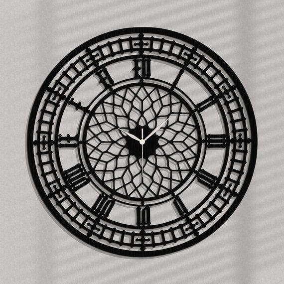 Stylish Wall Clock Big Ben Ornament Gothic Wooden Wall Clock