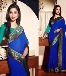 Buy Royal Blue Georgette Designer Sarees 37 party-wear-saree online