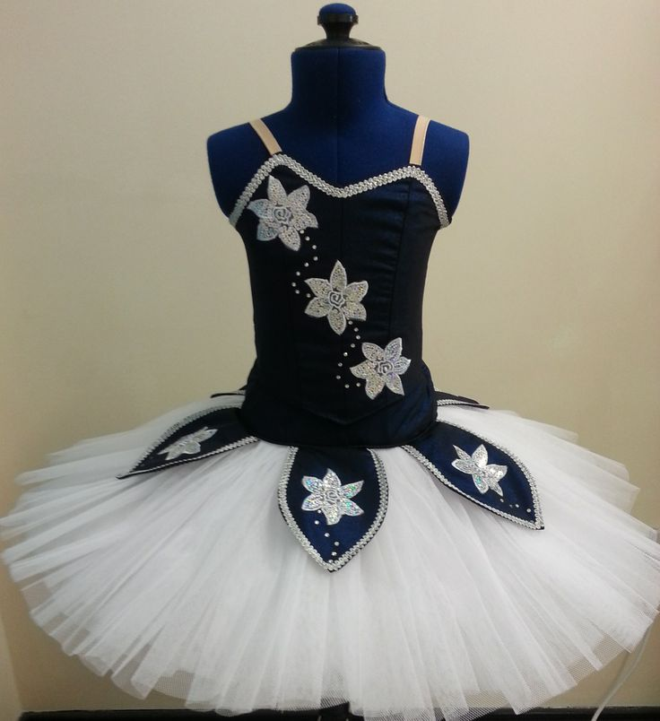 Navy night sky classical tutu. Silver sequined floral and swarovski crystal design