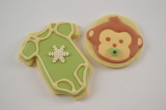 Monkey and onesie baby shower cookies :)