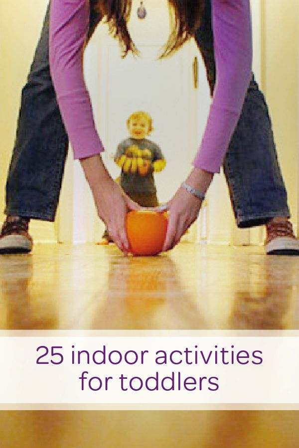 When the weather outside is gloomy and gray, use this collection of toddler activities to keep your little one entertained indoors. Use plastic water bottles and an inflatable ball to set up a DIY bowling alley in your hallway. Your child will love getting to set up and knock down the water bottles—he can even practice his motor skills and hand-eye coordination at the same time!
