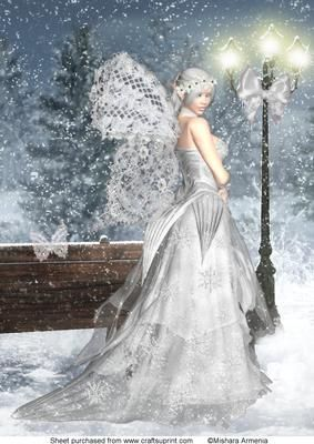 Snowflake fairy on Craftsuprint designed by Mishara Armenia - Gorgeous snow fairy girl wearing a white dress - Now available for download!