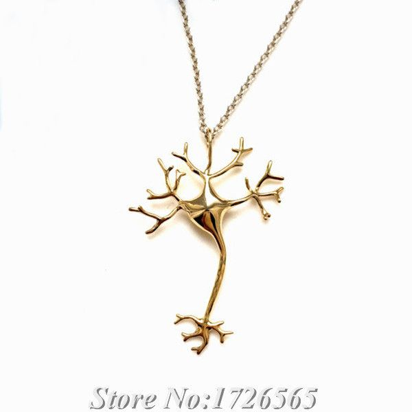 New Jewelry Science 3D Neuron Necklace & Pendant Boho Long Thin Chain Nerve Cell Colar Feminino Necklaces For Women Bijoux