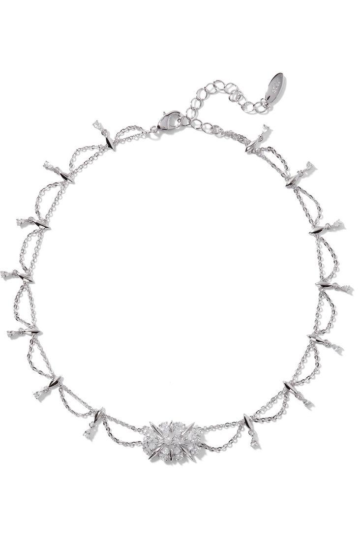 NOIR JEWELRY Silver-tone crystal necklace. #noirjewelry #