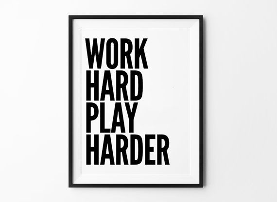 work hard print home decor wall art quote posters
