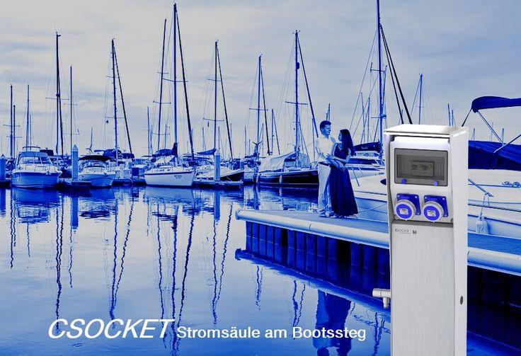 Steckdosnesäule CEE16 400V, Energiesäule IP67, Stromsäule, Steckdosensäulen für Camping oder Marina