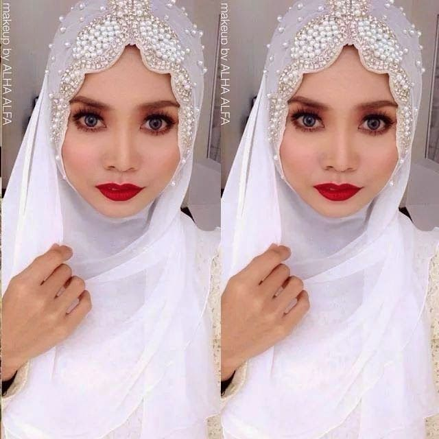 Beautiful hijab with beads and crystal.  http://weddinghijab.blogspot.com/2015/01/set-qisha-daun-white-beads-white.html