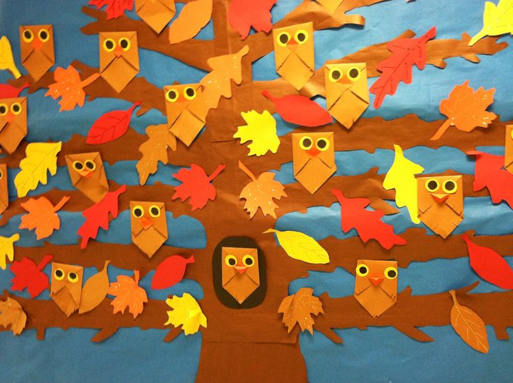 School craft brown paper bag owls for fall so cute