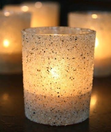 "Sand craft idea. Pretty lil' candle holders for table decor! I highly suggest these long lasting LED ""submersible"" lights - slow color change is my fave & very tiki: http://www.flashingblinkylights.com/ledsubmersiblecraftlights-c-114_462.html"