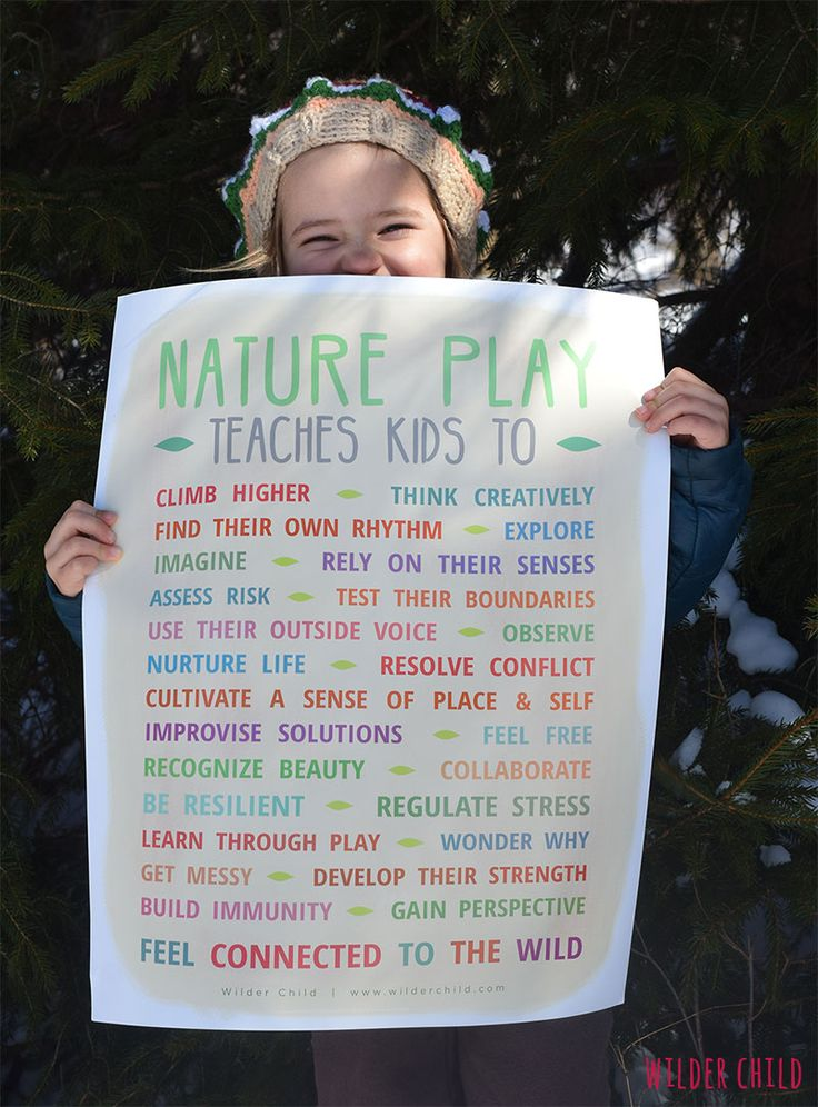 Poster illustrating the benefits of children spending more time playing in nature free printable