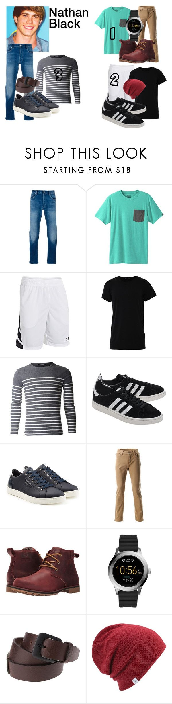 """""""Nathan Black"""" by styles-balor4eva on Polyvore featuring STONE ISLAND, prAna, Under Armour, Numero00, adidas Originals, Dolce&Gabbana, Columbia, FOSSIL, Coal and men's fashion"""