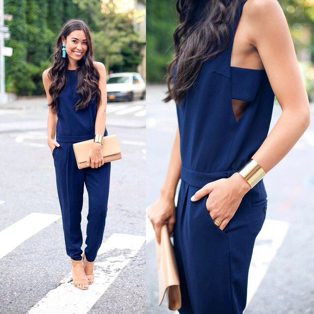 Navy jumpsuit on withlovefromkat.com.