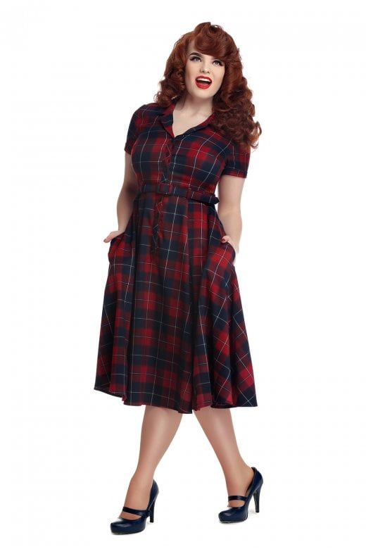 a8b851e44eff8 Collectif Vintage Caterina Ginsburg Check Swing Dress in 2019 ...