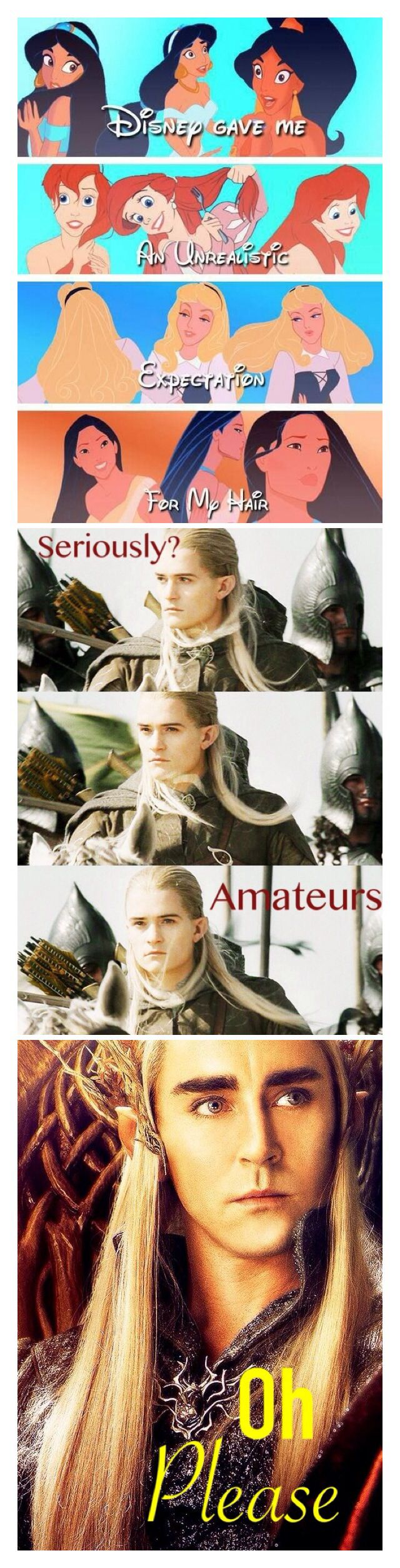 Hair competition between Disney and Elves. We all know who's winning this one. XD ~ Samantha Morton /// The Hobbit / Lord of the Rings / Disney / Legolas / Thranduil / Funny / Fabulous