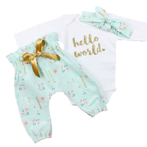 Baby Newborn take home outfit   Mint Floral, Gold Hello World Outfit   High Waisted Pants and Knotted Headband