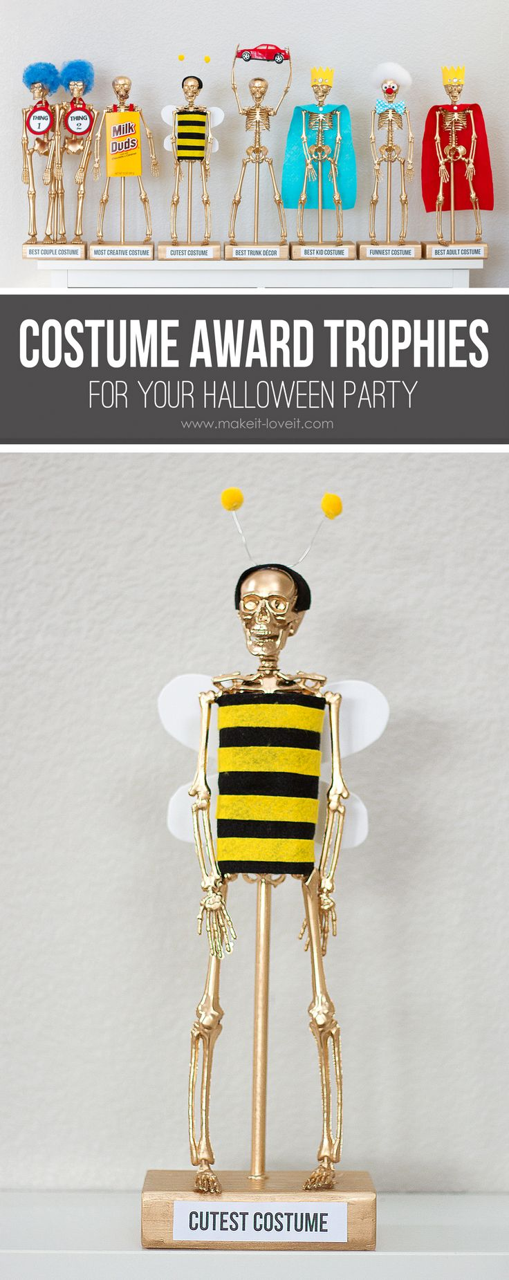 DIY Costume Contest Award Trophies....for your Halloween party! | via Make It and Love It